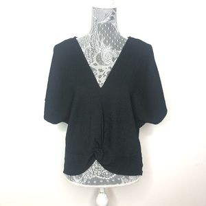 ZARA Womens Top Black V-Neck Wrap Blouse Large